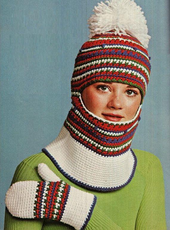 Crochet Pattern Vintage 70s Crochet Ski Hood Hat par Liloumariposa ...
