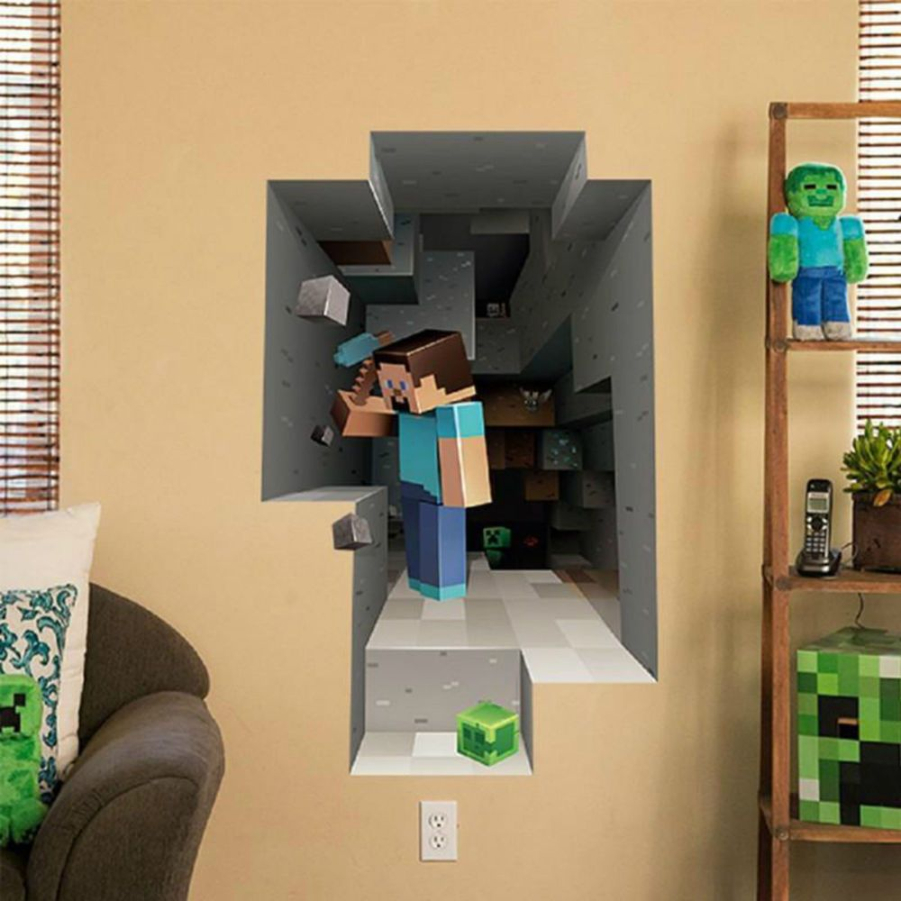 POPULAR GAMING MINECRAFT STYLE LARGE 3D KIDS BEDROOM WALL GRAPHICS ART  VINYL DECAL STICKER. This