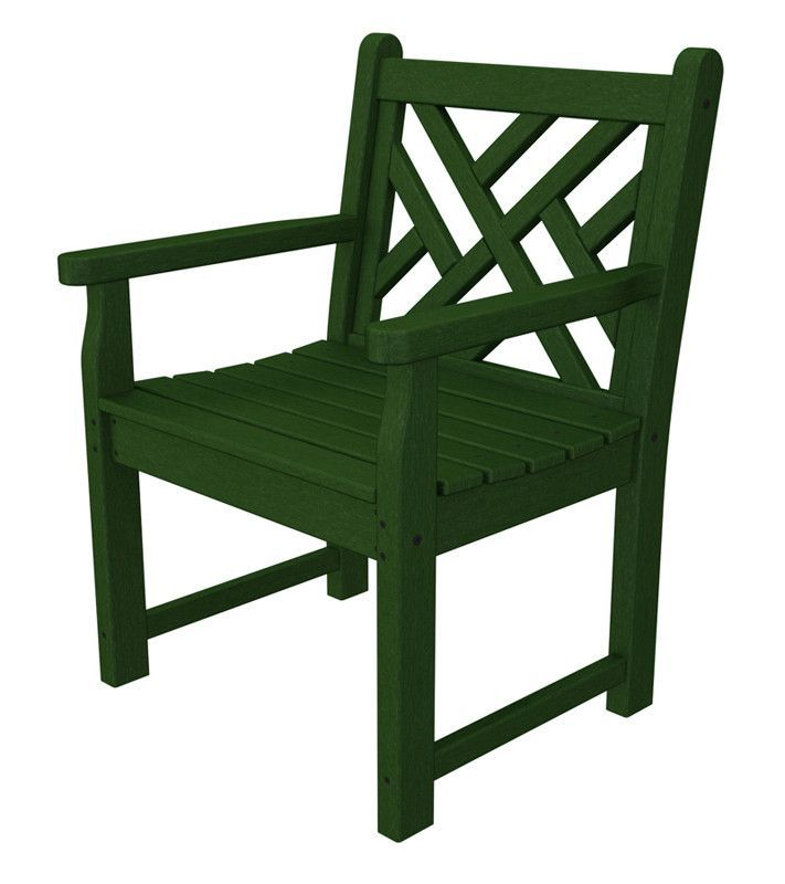 Polywood CDB24GR Chippendale Garden Arm Chair in Green