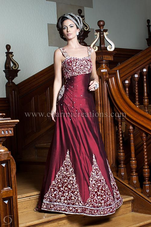 Wedding Reception Dresses Maroon Raw Silk Western Gown With Traditional Indian Embroidery Indian Dress Up Reception Dress Indian Bride Outfits
