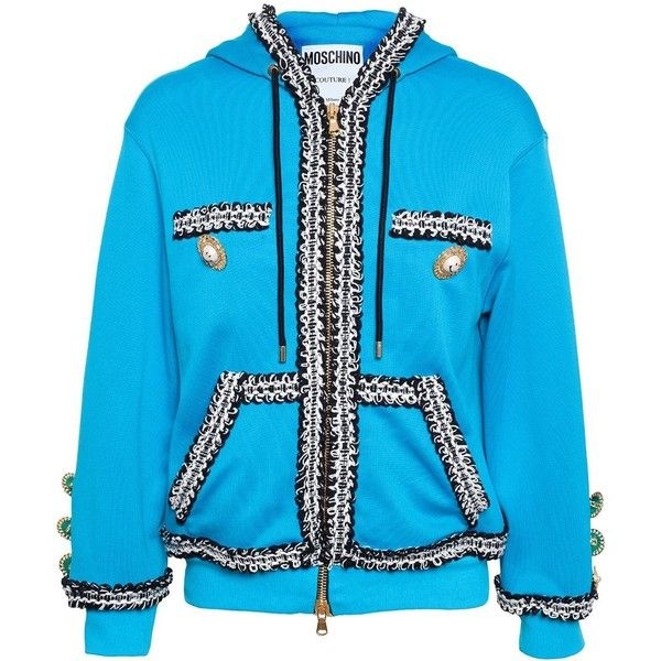 c3a1ccb9247465 Moschino Hooded Sweatshirt With Bouclé Trim ( 1