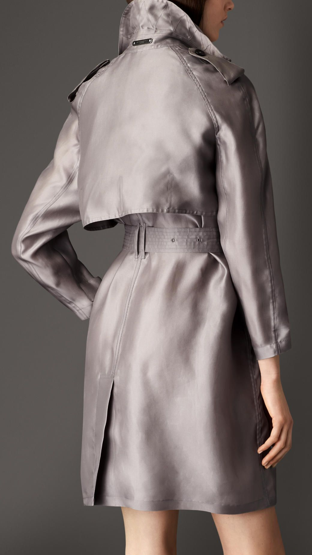 618176a9ded Long Silk Trench Coat with Oversize Detail | Burberry | Fashion ...