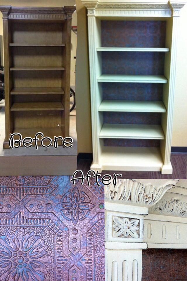 Bookshelf Recreated With Chalkpaint And Paintable Embossed Wallpaper Painted A Faux Verdigris Technique