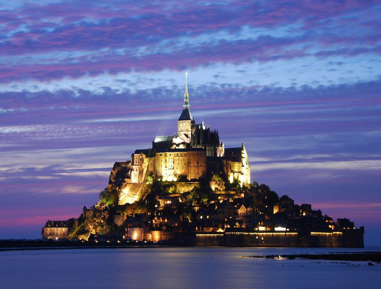 Mont St Michael Castle Mount Saint Michael Architecture Black Blue Castle Europe France French Castles Castles France Places To Go