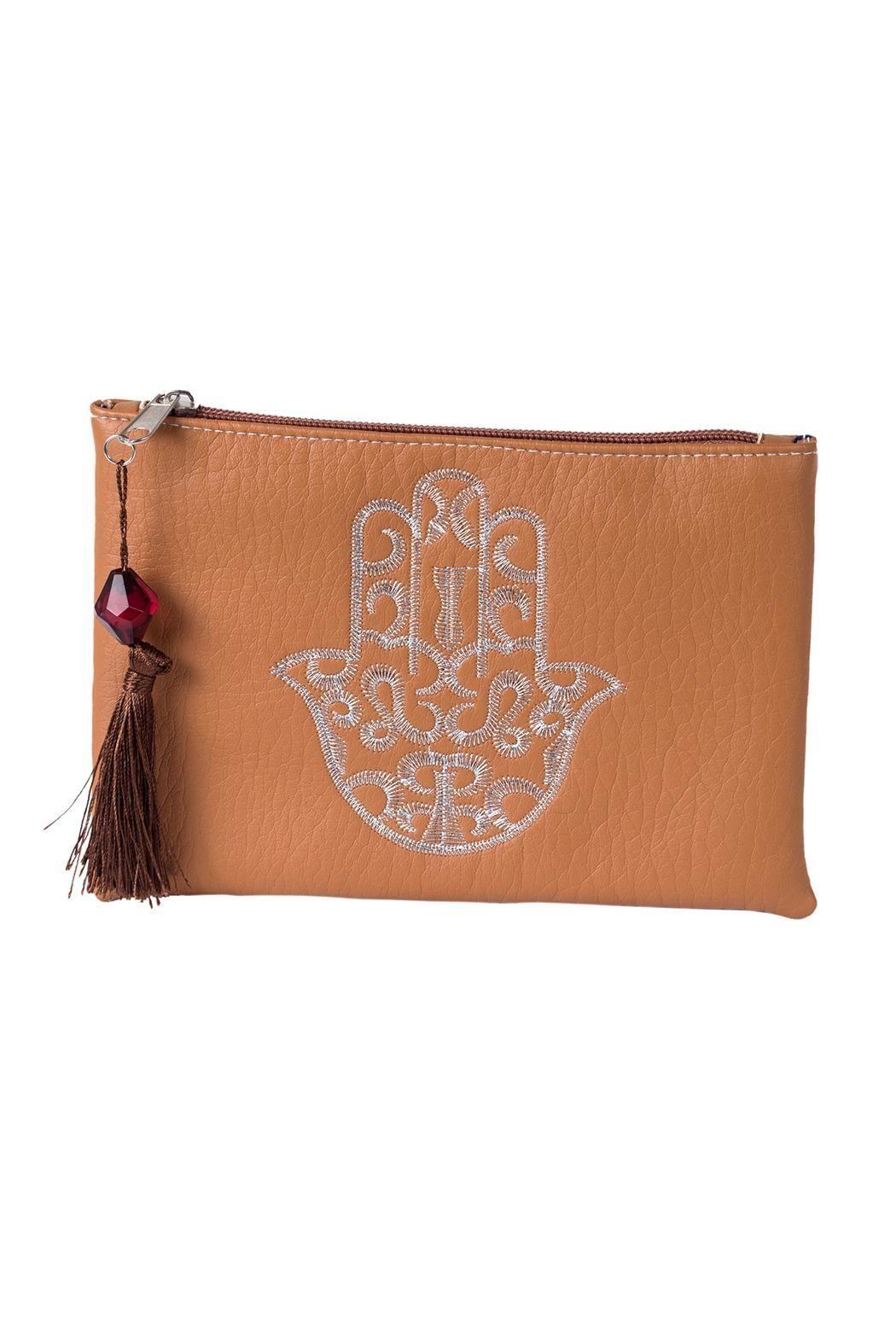 "Ideal medium Hamsa embroidered clutch with a top tassel zipper closure.    Approx Measure: 7.5"" x 4.5"" x 1"".   Camel Hamsa Clutch  by Le Beau Maroc . Bags - Clutches - Casual Florida"