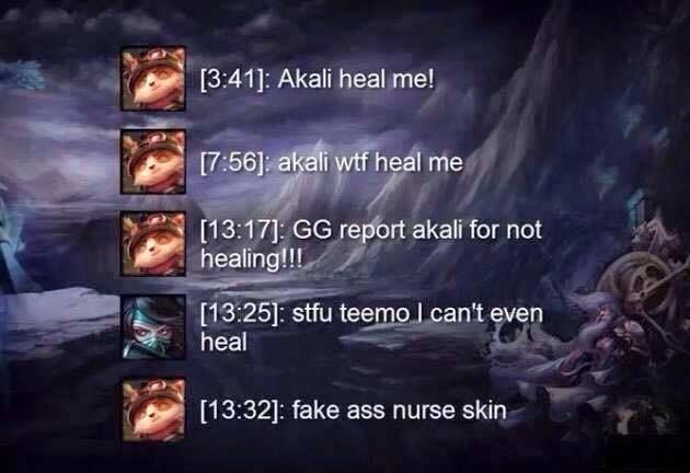 Akali And Teemo League Of Legends Chat League Memes League Of Legends Memes League Of Legends