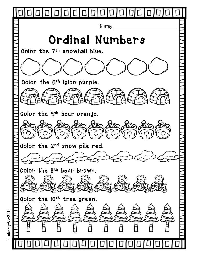 Winter Math Printables Ready To Use Fun Worksheets To Use For Math Centers Morning Work Or Home Winter Math Worksheets Ordinal Numbers Numbers Kindergarten