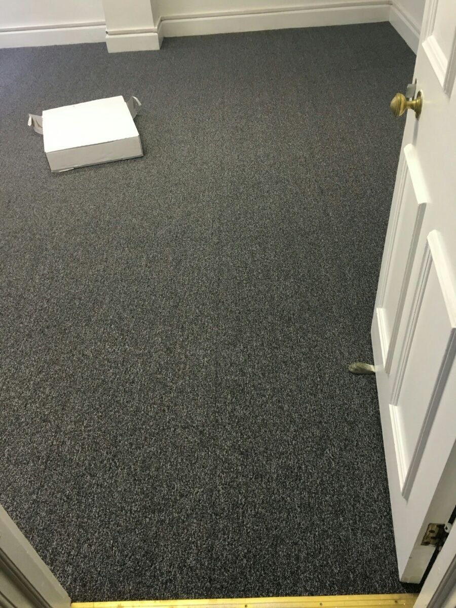 Cheap Dark Grey Carpet Tiles Fitted In Central London That