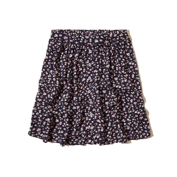 Hollister Floral Skater Skirt ($15) ❤ liked on Polyvore featuring skirts, bottoms, navy floral, flared skirt, navy blue skirt, blue flared skirt, flared skater skirt and floral skater skirts