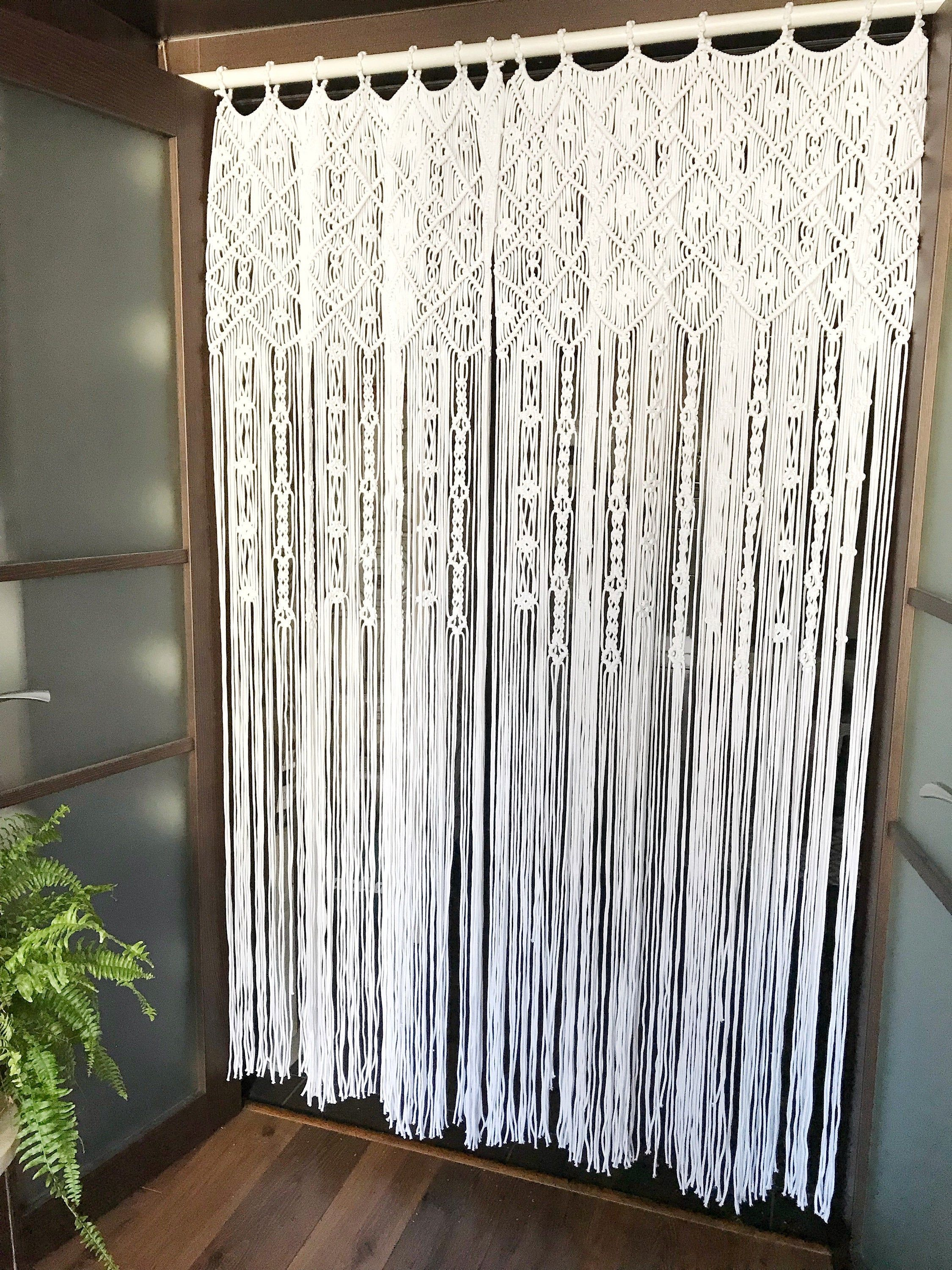 Macrame Curtain One Or Two Panels Curtain Macrame Room Etsy Macrame Door Curtain Macrame Curtain Panel Curtains
