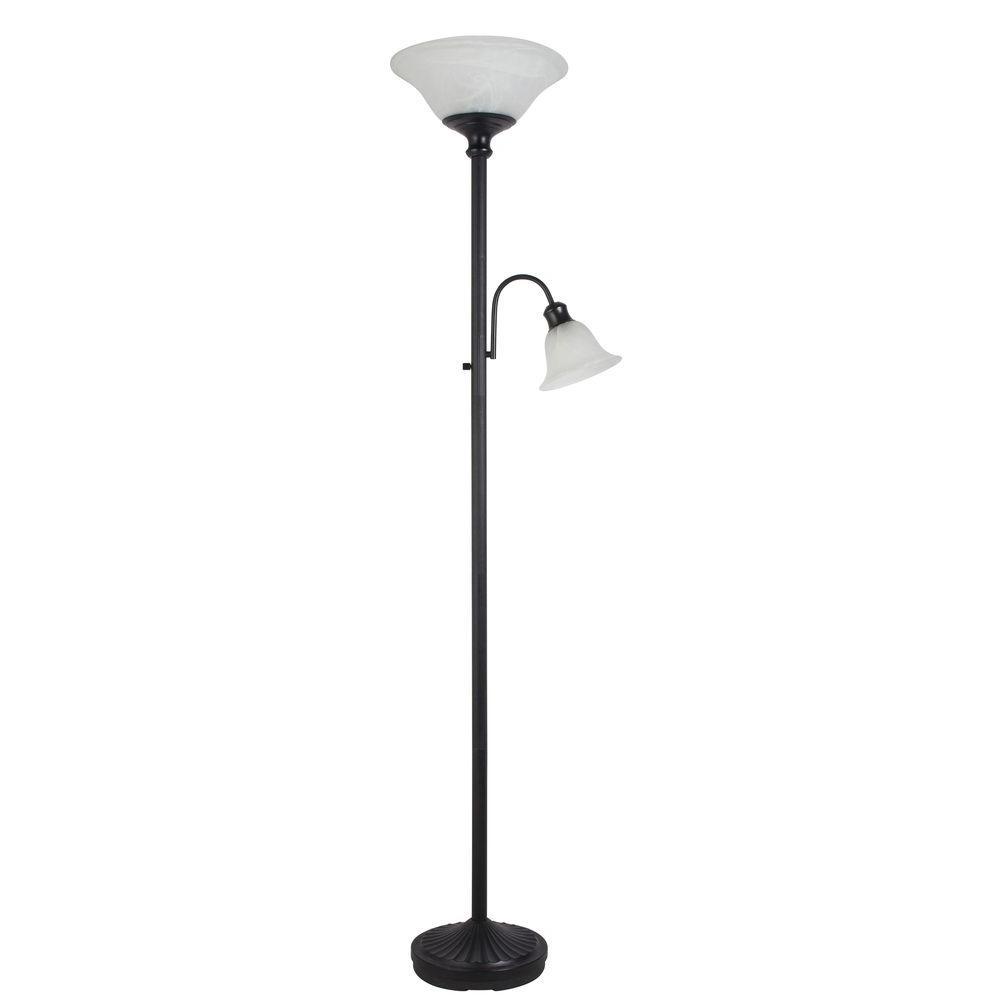 Hampton Bay 71 In Bronze Indoor Combo Floor Lamp With Glass Shade Glass Floor Lamp Shade Lamp Indoor Floor Lamps