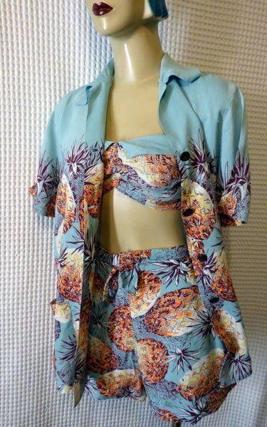 40s WWII era Catalina pineapple print rayon 3pc SWIMSUIT sz 36 AS IS #Catalina