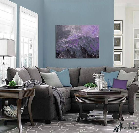Abstract Canvas Wall Art Purple Plum Grey Black Bedroom Wall Decor Above Bed Art Over Couch Or Bathroom Pictures Large Artwork Living Room Grey Living Room Color Living Room Inspiration