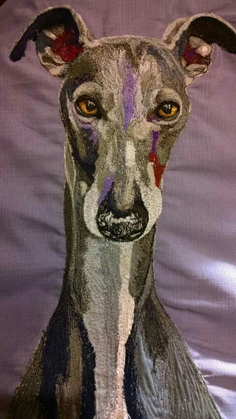 Stitched Commission Piece of Wilbur the Whippet by Little Bird Creations