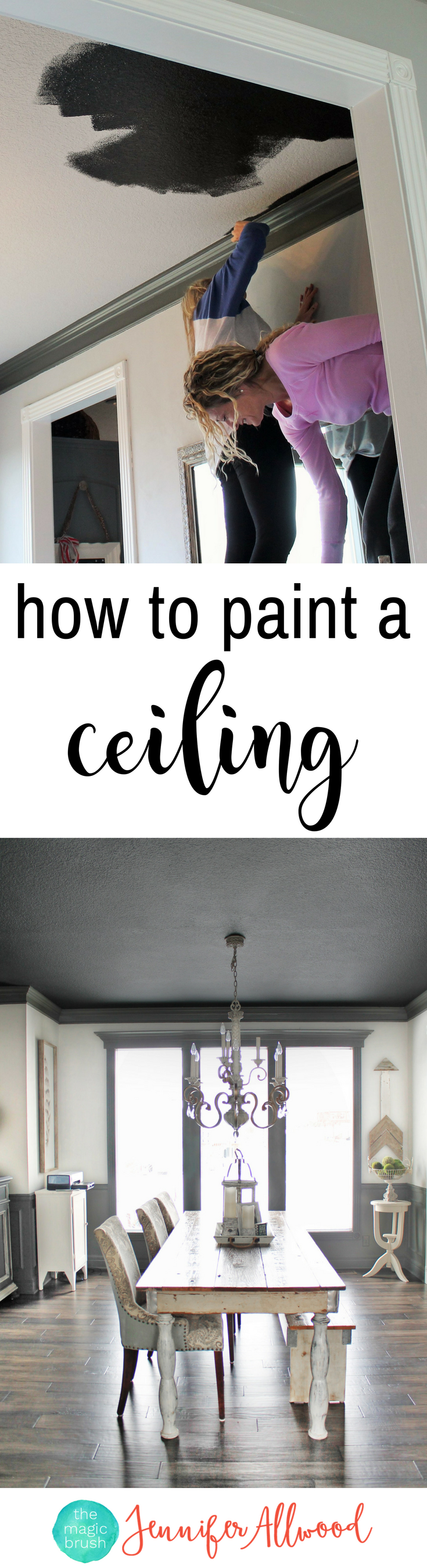 Dining Room Ceiling Paint Ideas Part - 17: How To Paint A Ceiling ... Black! Painted Black Ceiling In The Dining