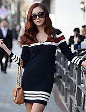 V Neck Stripes Vestido das mulheres – BRL R$ 34,51