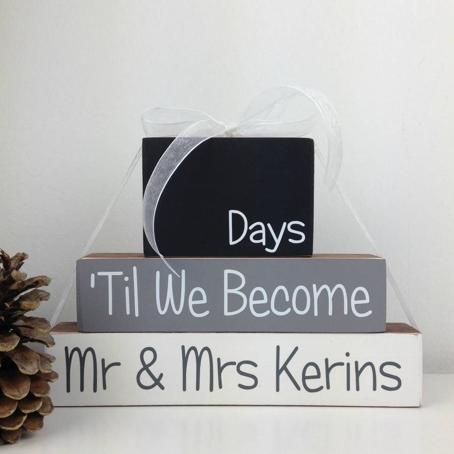 Personalised Wedding Countdown Blocks Engagement Gift Wooden For Friend Newly Engaged