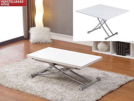 Couchtisch Stahl Clever Höhenverstellbar Weiß Tisch