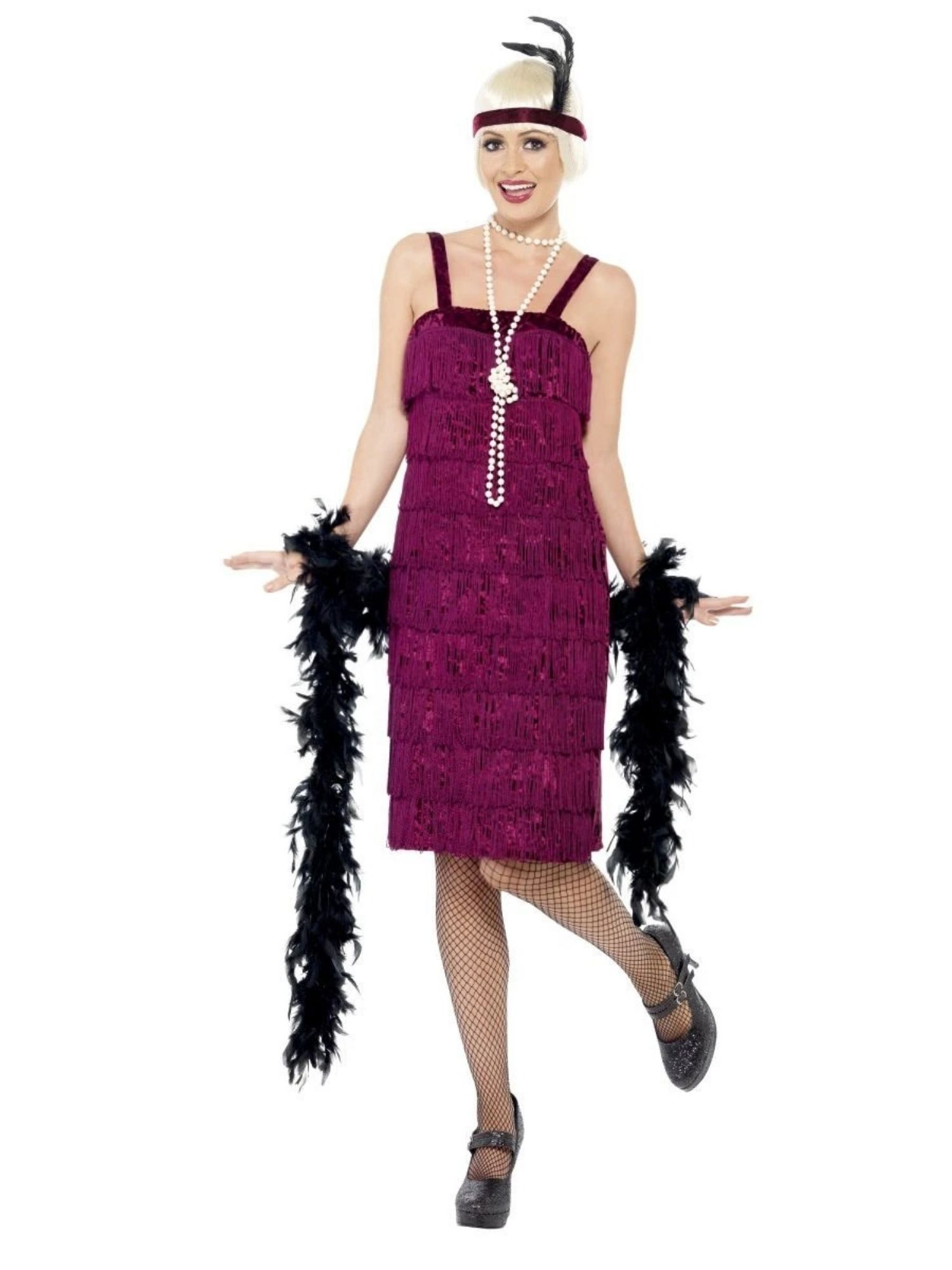 Smiffys black flapper 20/'s 1920/'s Great Gatsby costume fancy dress adult womens