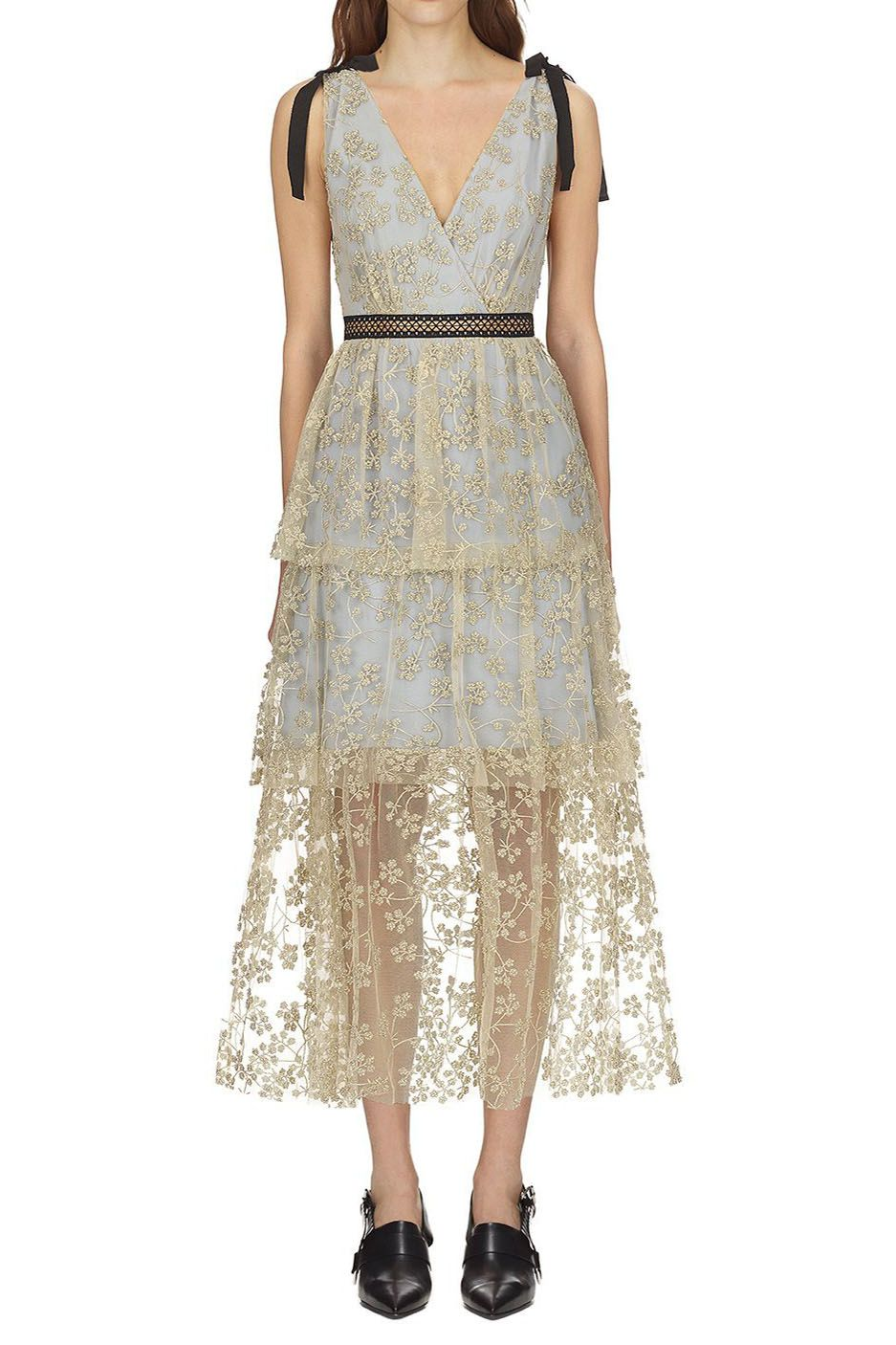 79b8c41edb Self Portrait Tiered Floral Embroidered Mesh Midi Dress | Clothes in ...