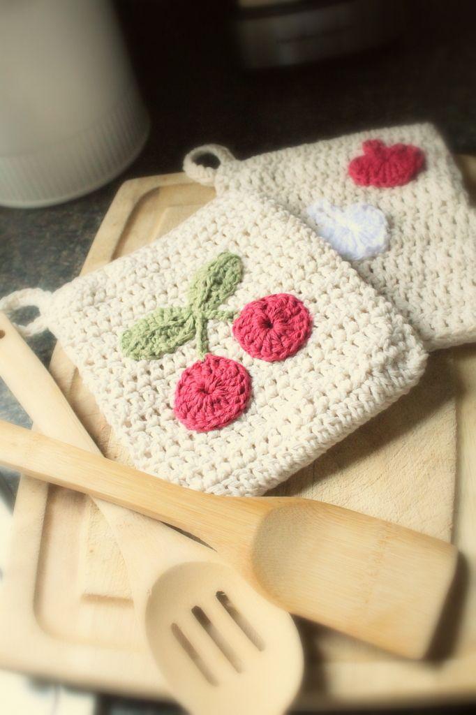 a stitched pattern: Kitchen love..... cherry crochet pot holder ...