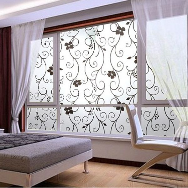 New Sweet Frosted Privacy Cover Glass Window Black Floral Flower Sticker Film Office Decor & DIY Wall Art Decal Decoration Fashion Romantic Flower Glass ... pezcame.com