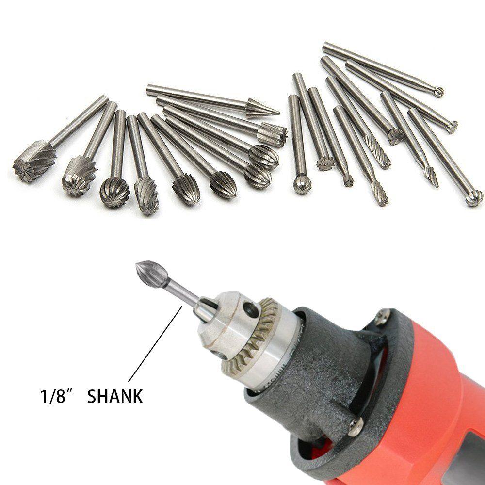 "20PCS 1//8/"" Shank Steel Tungsten Carbide Rotary Burr Drill Bits Set Cutter"