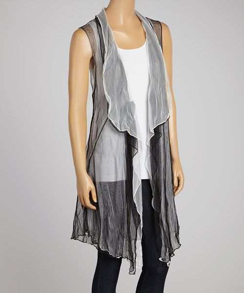 Another great find on #zulily! Black & White Open Reversible Vest - Women & Plus by Come N See #zulilyfinds