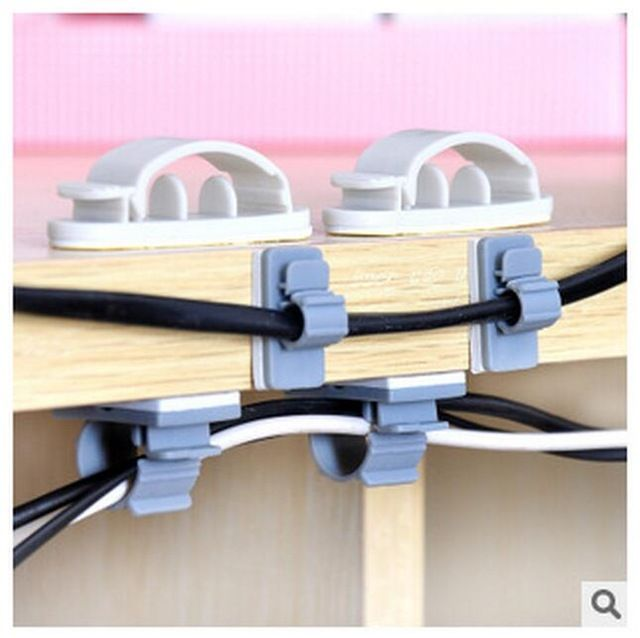 10//15pcs Self-Adhesive Cable Clips Organizer Drop Wire Holder Cord Management US
