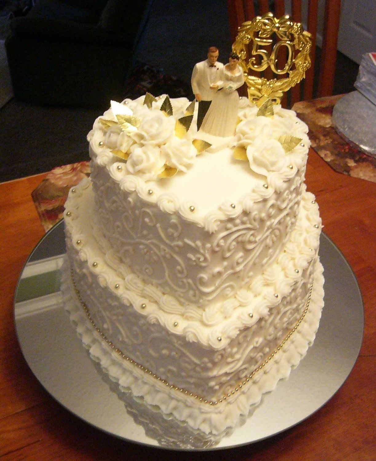 50th wedding anniversary cake - Wasc with lemon filling. Very ...