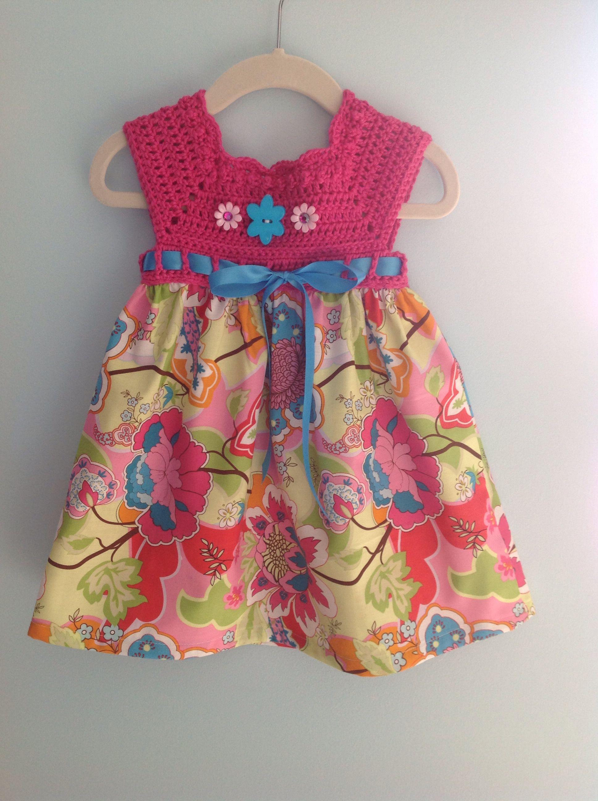 Crochet baby dress | vestidos de niñas con canesu tejidos ...