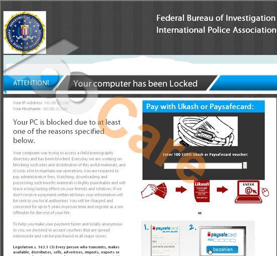 Pin on FBI virus computer locked asking for 100 Euro Ukash