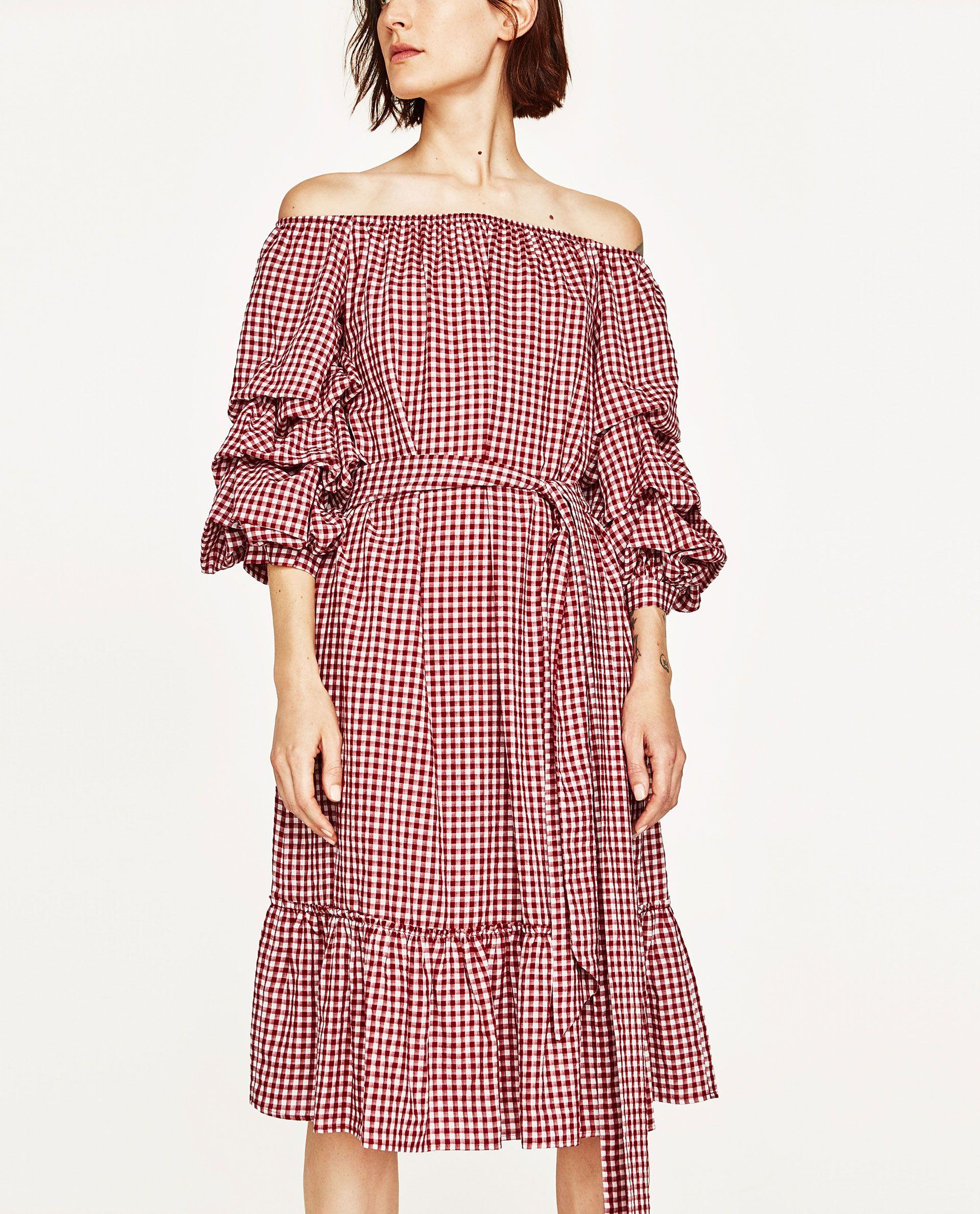 GINGHAM DRESS WITH RUFFLED SLEEVES  Looks vestidos, Vestidos
