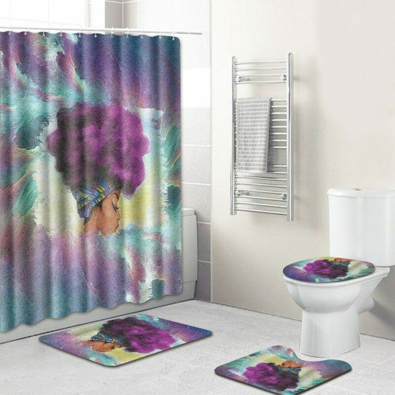 African Queen Bathroom Fashion Shower Curtain Toilet Seat Cover Rug Set Ebay Bathroom Shower Curtains Girls Shower Curtain Bathroom Shower Design