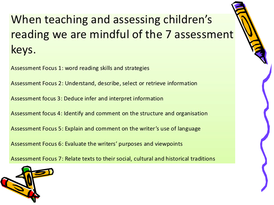 When assessing children's reading skills, be mindful of the 7 assessment foci.