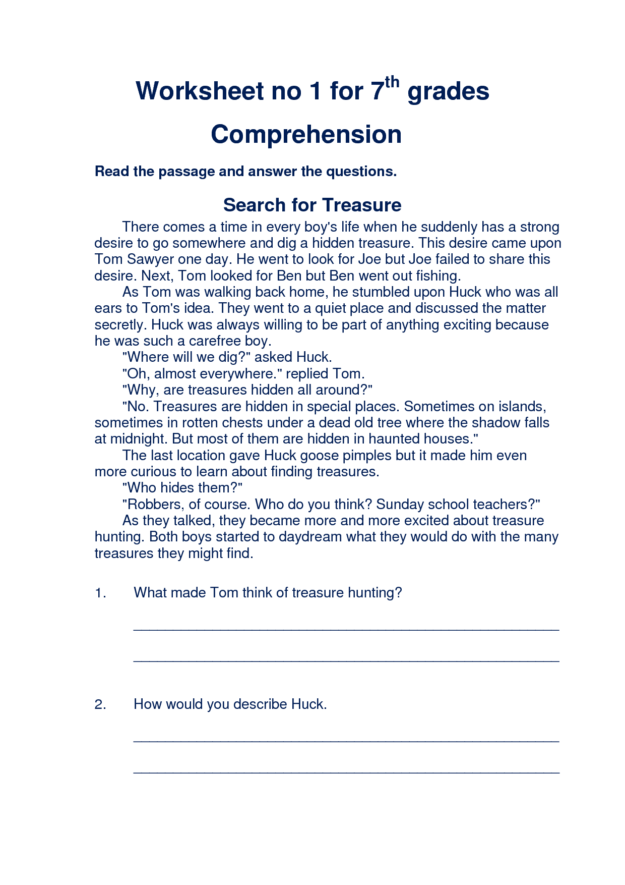 Worksheets Free 8th Grade Reading Comprehension