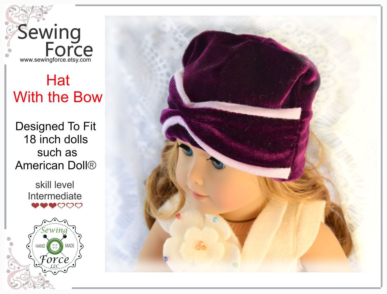 18 inch doll pdf sewing pattern hat with bow desig