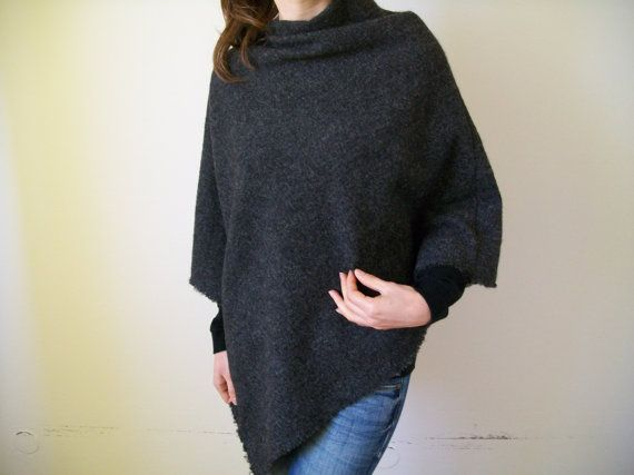 This poncho is made of Pure Wool fabric. Warm and comfortable,it will wrap you in cold days. Its a versatile poncho due to the asymmetrical cut