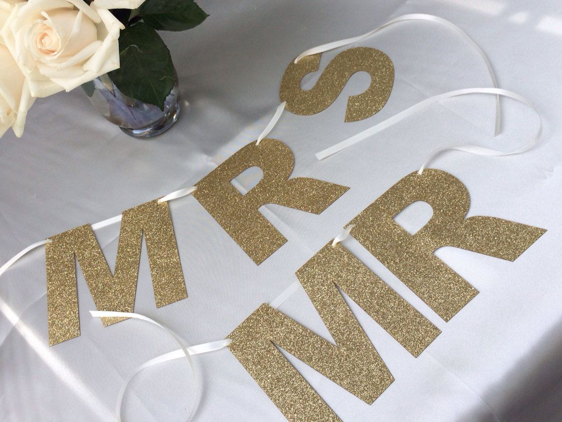 Mr. and Mrs. Banner Chair Signs Bride and Groom by pishposhparty, $11.00