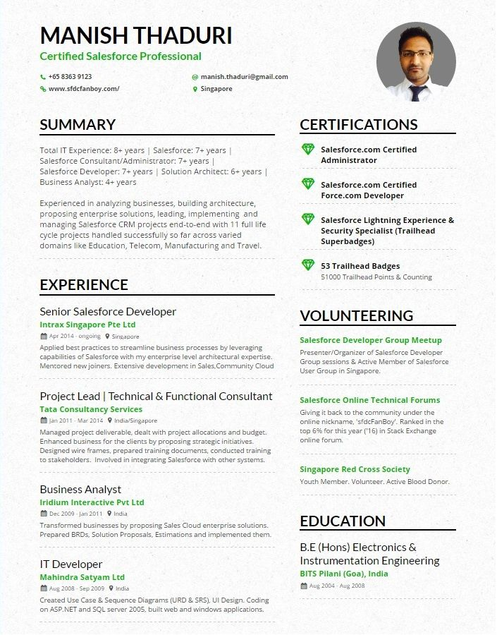 Manish Thaduri One Page Cv Sfdcfanboy Updated Jpg 705 900 Salesforce Administrator Salesforce Developer Solution Architect