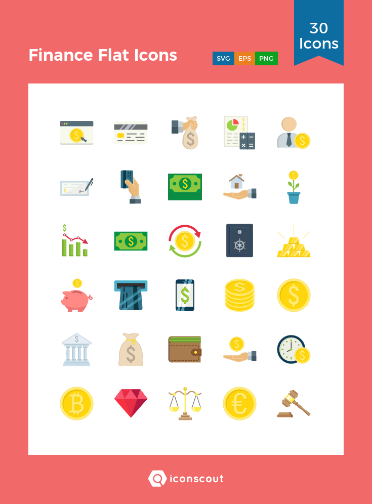 Download Finance Flat Icons Icon pack Available in SVG