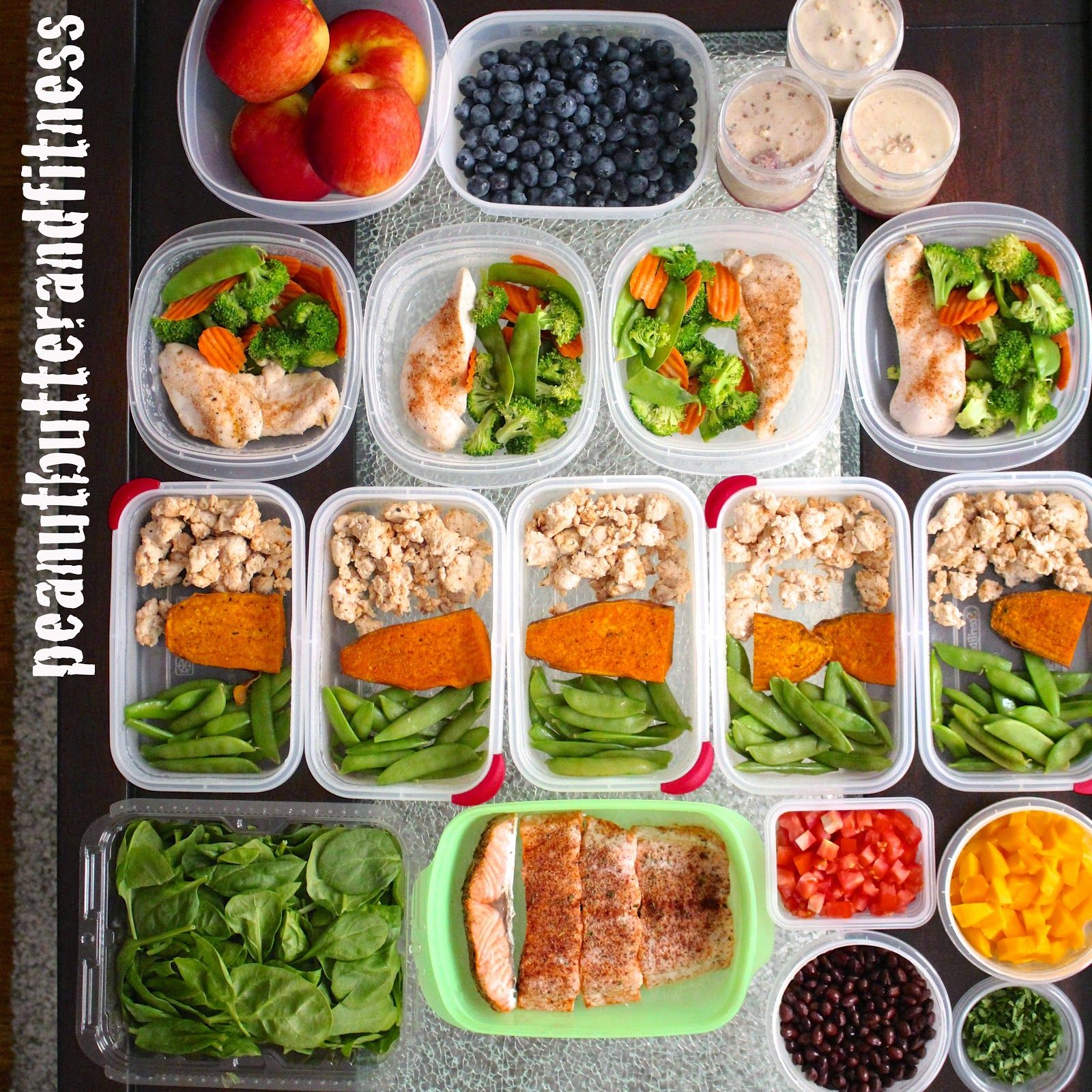 Meal prep ideas for one week - Check out my blog post for recipes and nutrition info. This week, my meal prepping includes: +Chili Lime Salmon Salad +Baked chicken with steamed broccoli stir fry vegetables served with Little Soya soy sauce +Ground turkey with baked sweet potato and sugar snap peas +PB&J Overnight Oats #MealPrepMonday
