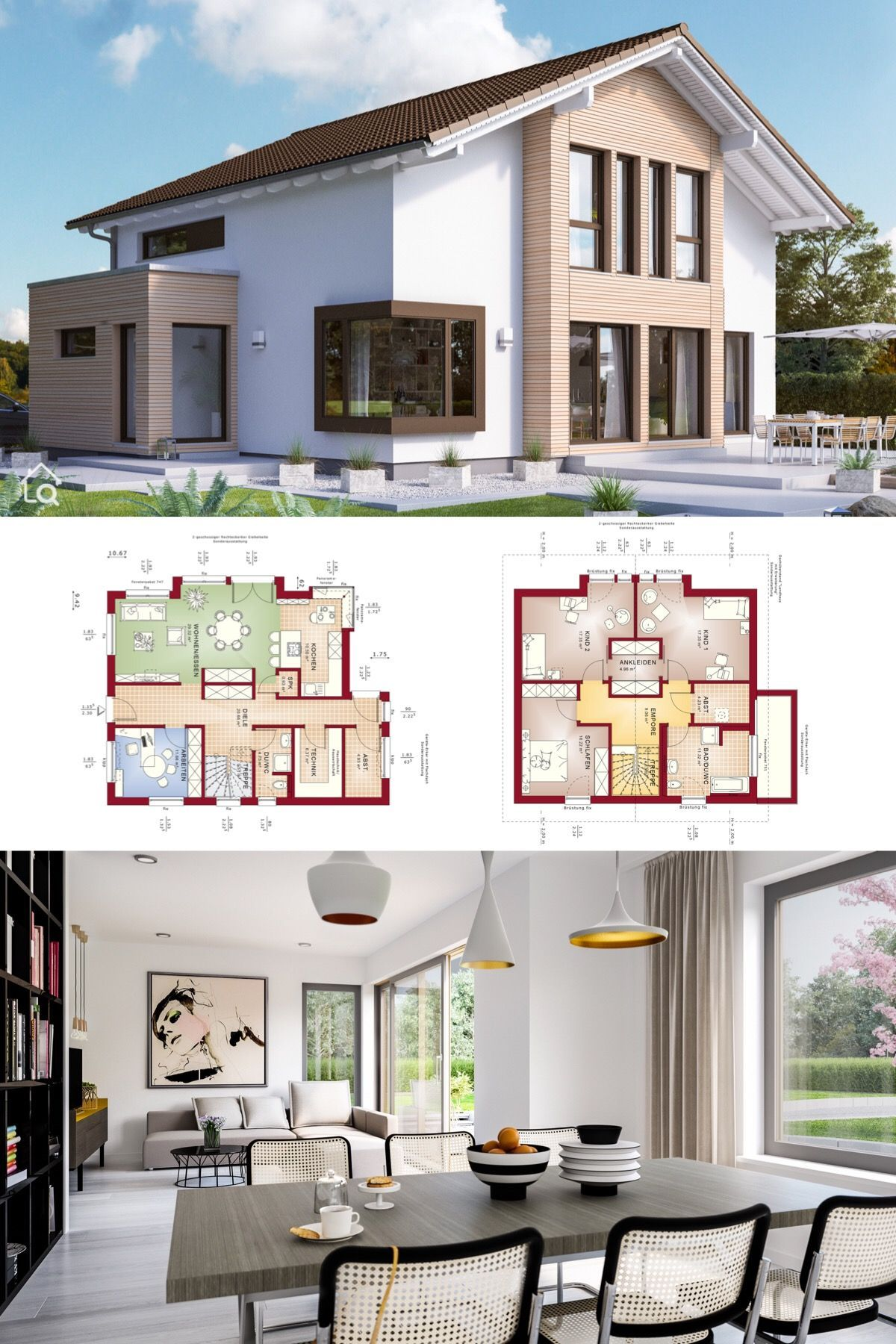 Fertighaus mit Satteldach & Holz Putz Fassade, Grundriss 5