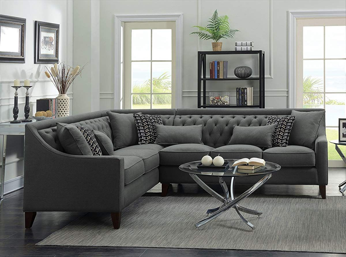 Tufted Down Mix Modern Contemporary Left Facing Sectional Sofa Grey Small Living Room Decor Sectional Sofa Grey Sectional Sofa