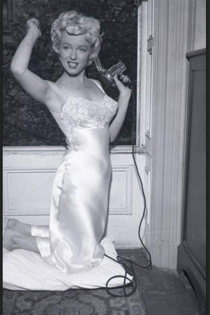 9730ec119e2 Marilyn in a sexy white satin slip - probably Juel Park