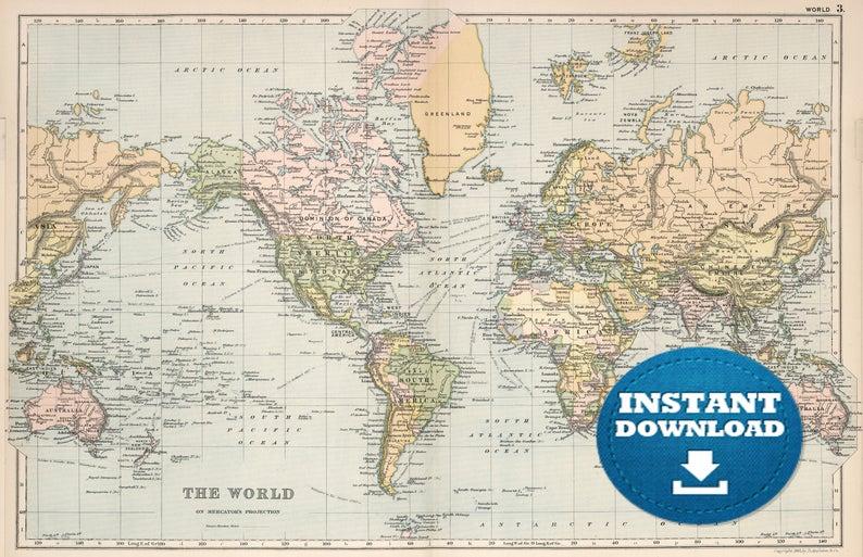Digital Old World Map Printable Download Vintage World Map Printable Map Large World Map High Resolution World Map Poster Usa Australia World Map Printable Color World Map Old World Maps