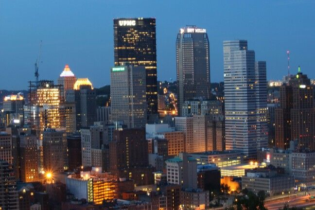 Downtown Pittsburgh at night. Shot with my canon T5i from Mt. Washington lookout.