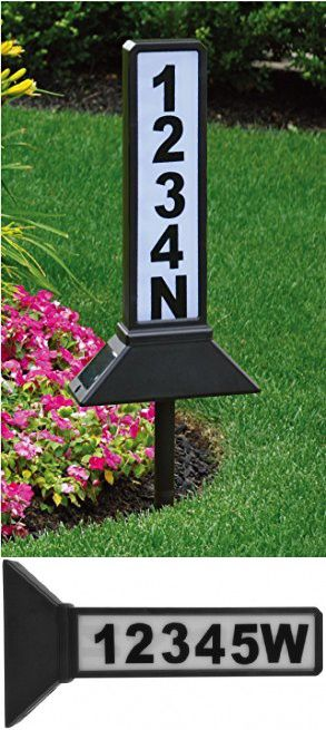 Moonrays 40 4040Inch 40Sided Solar Address Sign Black Adorable Decorative Address Yard Signs