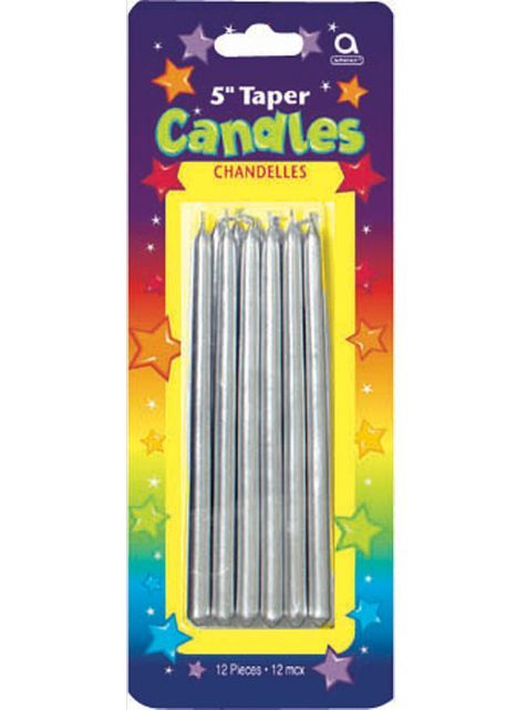 Silver Mini Taper Birthday Candles 12ct