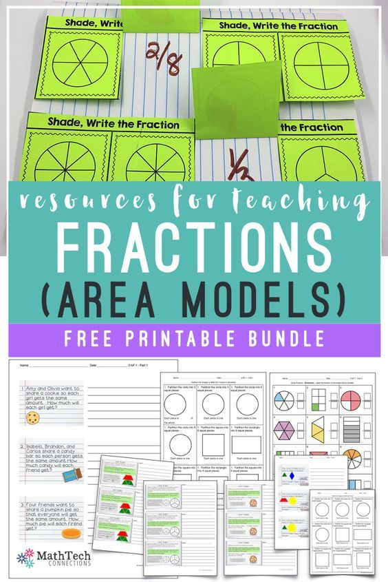free resources for teaching fractions - 3rd grade - area models - 3 ...